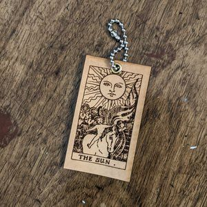 The Sun Tarot Card Leather Keychain